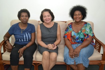 First Lady, Mrs. Sandra Granger (centre) is flanked by, from left to right, Ms. Joycelyn Thomas-Wilson and Ms. Dorrie Thomas-Crawford at her State House office