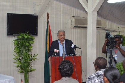 Minister of Education Dr. Rupert Roopnaraine addressing the media