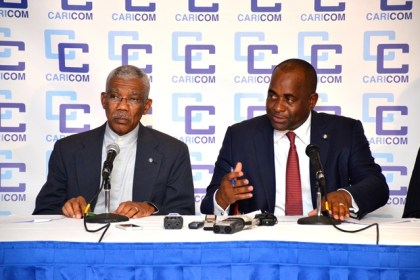 From right: Chairman of the Conference of the Heads of Government of the Caribbean Community and Prime Minister of Dominica, Hon. Roosevelt Skerrit and co-host and President of Guyana, His Excellency Brigadier David Granger during the closing Press Conference, which was held last evening at the Pegasus Hotel.