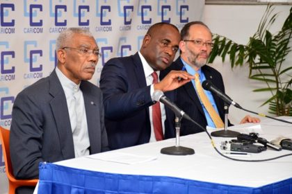 Chairman of the Conference of the Heads of Government of the Caribbean Community and Prime Minister of Dominica, Hon. Roosevelt Skerrit making a point during the closing press conference of the Thirty Seventh Regular Meeting of the Conference of the Heads of Government of the Caribbean Community.  At the table are His Excellency, President David Granger and Secretary-General of CARICOM,Ambassador Irwin LaRocque.