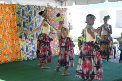 Young girls performing a traditional African dance