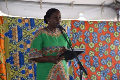Minister within the Ministry of Education Department of Culture, Youth and Sport making brief remarks at the Emancipation Day Celebrations event