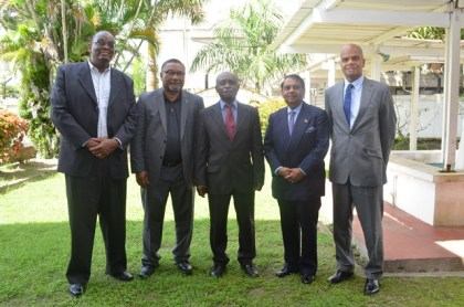 Foreign Affairs Minister Carl Greenidge (centre) flanked by some of the new heads of missions (from left to right): Dr Kenrick Hunte, High Commissioner to South Africa, Michael Ten-Pow, Permanent Representative to the UN, Dr Shamir Ally, Head of Mission to Kuwait, and Dr David Pollard, High Commissioner to India.