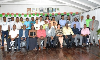 Second from left: Mr. Alfred Mentore, President of the DCC, Minister within the Ministry of Education, Ms. Nicolette Henry, Minister within the Ministry of Social Protection, Mr. Keith Scott, Minister of State, Mr. Joseph Harmon, Minister within the Ministry of Indigenous Peoples' Affairs, Ms. Valerie Garrido Lowe, Executive Members of the DCC and Awardees at last evening's ceremony
