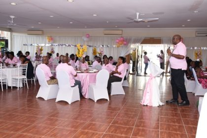 Guyana Geology and Mines Commission Commissioner (ag) Newell Dennison addressing staff at the agency's  37th anniversary celebrations
