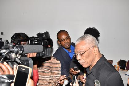 President David Granger interacting with media operatives as the 37th Regular Meeting of the Conference of CARICOM Heads of Government