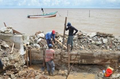 Ongoing rehabilitation works at the seas defence at Cornelia Ida, West Coast Demerara