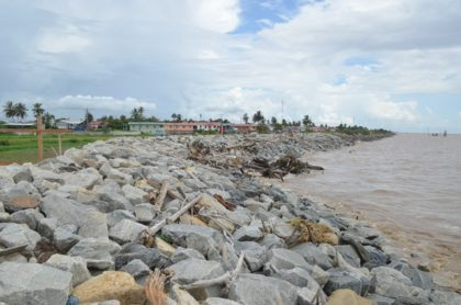 Completed sea and river defence at Ruimzeight, West Coast Demerara
