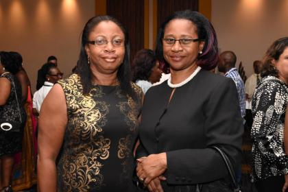 Chief Justice Yonette Cummings-Edwards (right) and Madam Justice Roxanne Bernard (left) at the opening ceremony of Hague Convention Centre.
