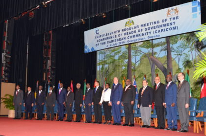 Caricom Heads of Government gathered at the National Cultural Centre in Georgetown for the 37th Regular Meeting of the Conference