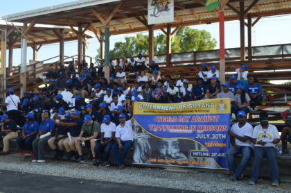 A section of the advocates against Trafficking in Persons at the Ministry of Public Security's World Day Against Trafficking in Persons walk