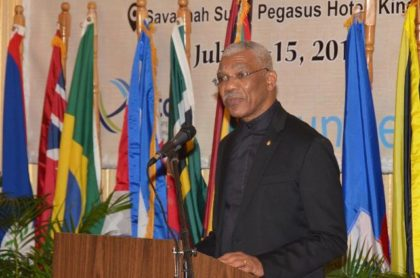 "His Excellency, President David Granger, delivers the feature address at the Opening ceremony of the Hague Convention Conference on ""International Family Law, Legal Cooperation and Commerce: Promoting Human Rights and Cross Border Trade in the Caribbean through the Hague Conference Conventions"", which was held earlier this evening at the Pegasus Hotel."