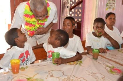 President David Granger delighted these boys when he took the time to chat with them