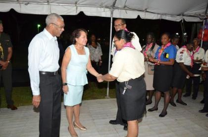 President David Granger and First Lady, Mrs. Sandra Granger, this evening, hosted a reception on the lawns of State House for the visiting Scout Leaders, who are in Guyana for the 14th Caribbean Cuboree. Pictured here are President Granger and Mrs. Granger with the President of the Scouts Association of Guyana, Mr. Ramsey Ali and Camp Chief, Ms. Zaida Joaquin at the reception.