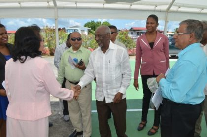 (center)Minister within the Ministry of Social Protection Keith Scott meeting trainers at the graduation ceremony of  the National Training Project for Youth Empowerment at the Upper Corentyne Industrial Training Center