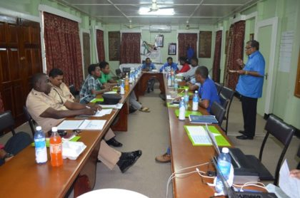 Members present at the Disaster Risk Management meeting held by the Civil Defence Commission, in Region Five
