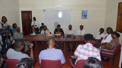 Minister of Social Protection, Volda Lawrence and Minister within the Ministry Keith Scott, Permanent Secretary, Lorene Baird, Director, Childcare and Protection Agency (CPA) Ann Greene,  Senior Child Protection Officer, Gavin Robertson, Social Services Assistant (house father),  Rupert Hinds, and Social Services Assistant (house mother) Sharon Jones at the press conference held at the Ministry's Corn Hill Street office.