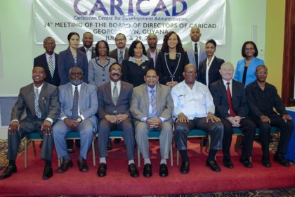 Members of the Board of CARICAD pose for the official photograph with Prime Minister Moses Nagamootoo, Attorney General and Minister of Legal Affairs Basil Williams and Finance Minister, Winston Jordan.