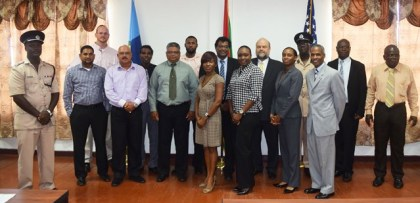 Hon. Minister of Public Security Khemraj Ramjattan, US Ambassador Perry Hollaway and participants of the Training Course.