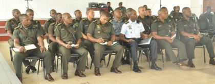 The Officers currently undergoing training on the SCSC pay keen attentio to Brigadier Phillips during his presentation