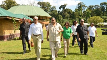 President David Granger and First Lady Mrs. Sandra Granger being given a guided tour of the Iwokrama River Lodge and Research Centre by Chief Executive Officer, Dr. Dane Gobin
