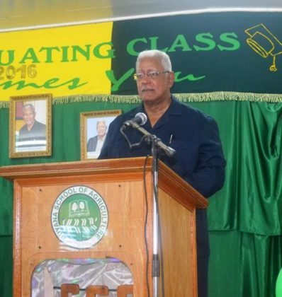 Agriculture Minister Noel while delivering the feature address at the 2016 graduation ceremony for the Guyana School of Agriculture