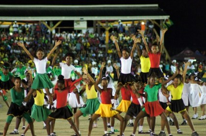 Students performing at Guyana's 50th anniversary celebrations at D'urban Park