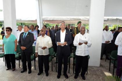 From right: General Secretary of the PNC, Mr. Oscar Clarke, President David Granger, Minister of Foreign Affairs, Mr. Carl Greenidge, Minister of Indigenous People's Affairs, Mr. Sydney Allicock, and Minister of Social Cohesion, Ms. Amna Ally at the memorial ceremony for the late Linden Forbes Sampson Burnham