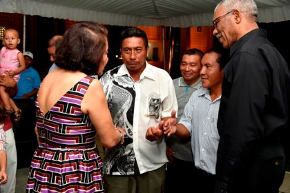 President David Granger and First Lady Mrs. Sandra Granger mingling with the Toshaos and Village Councillors