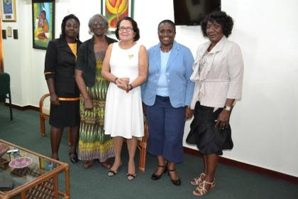 First Lady, Mrs. Sandra Granger is flanked by (from left to right) Ms. Simone Dainty, Ms. Catherine Archer, Ms. Marva Gordon and Ms. Janice John