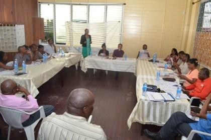 Kean Mosley, Head of the Mangrove Restoration Project making her presentation on the Guyana Mangrove Restoration Project to members of the Better Hope Neighbourhood Democratic Council (NDC)