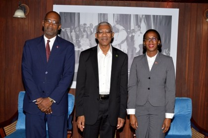 President Granger flanked by Trinidad and Tobago's Minister of Energy and Energy Industries, Ms. Nicole Olivierre and Deputy Permanent Secretary in the Ministry of Energy and Energy Industries, Mr. Mr. Andre Laveau