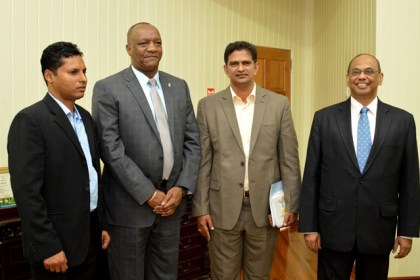 Minister of State, Mr.Joseph Harmon, met with a team from The Energy and Resources Institute (TERI). The team included Director General of TERI, Dr. Ajay Mathur (right)  TERI's Director, Dr. Rudra Narishma Rao (inner right) andMr. Shyam Nokta, TERI Chief Representative for the Caribbean (left).