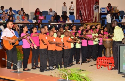 The children's choir from the Tina Insanally Foundation performing at the opening ceremony