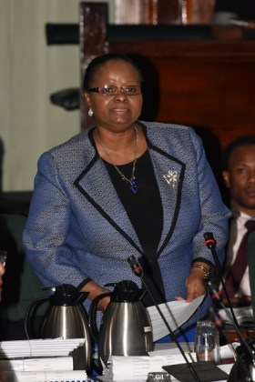 Minister of Social Protection, Volda Lawrence speaking on the adoption of the report of the Public Accounts Committee