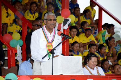 President David Granger delivering the feature address at the opening of the Upper Mazaruni 19th Annual District Games.