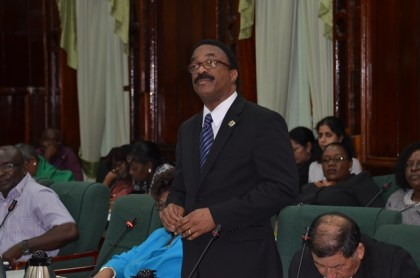 Attorney General and Minister of Legal Affairs, Basil Williams making his pitch for assistance for Guyanese law students