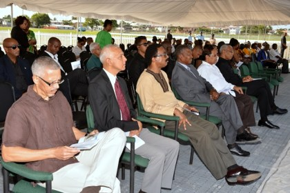 Ministers of Government, Speaker of the National Assembly, Dr. Barton Scotland and other officials joined a small crowd at the Demerara Revolt Monument on Atlantic Avenue to commemorate the Demerara Revolt 1823.