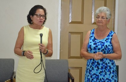 First Lady, Mrs. Sandra Granger delivers remarks at the closing ceremony of the three-day First Aid training programme. Also in photo is the General Secretary of the Guyana Red Cross Society, Mrs. Dorothy Fraser