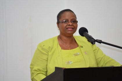 Minister of Social Protection, Volda Lawrence addressing the high-level policy dialogue on adolescents and youths