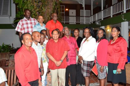 Prime Minister Moses Nagamootoo pose with executive members of  the Clerical and Commercial Workers Union