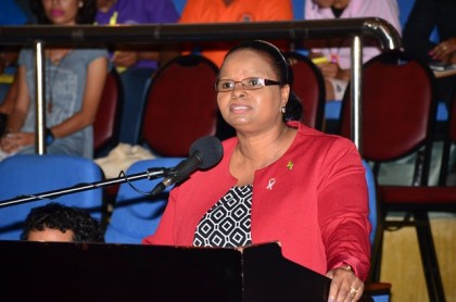 Minister of Social Protection Volda Lawrence responding to questions from toshaos at  the National Toshaos Council Meeting, Day Three