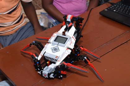 A robot built by the children at the STEM workshop