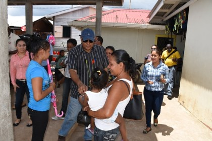 Minister of Natural Resources, Raphael Trotman meeting with residents of Moruca, Region One
