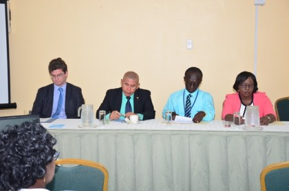Seated at the head table from left to right; British High Commissioner to Guyana, His Excellency, Gregg Quinn, Minister of Public Health, Dr. George Norton, PAHO/WHO Representative, Dr. William Adu-Krow and Minister within the Ministry of Public Health, Dr. Karen Cummings