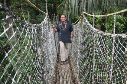 Prime Minister Moses Nagamootoo on the Canopy Walkway at the Iwokrama International Centre for Rainforest Conservation and Development