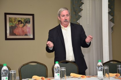 ExxonMobil's Country Manager, Jeff Simons, addressing the media at an engagement at the Cara Lodge