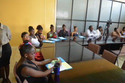 A section of the participants at the Public Health Ministry's Food Policy Division two-day education session on nutrition with pregnant teenagers in Linden
