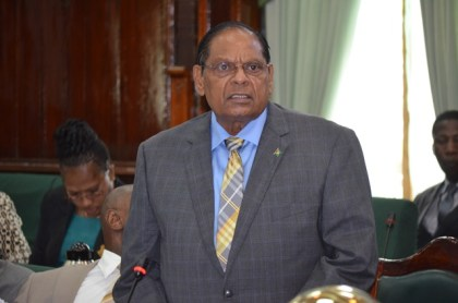Prime Minister Moses Nagamootoo debating the Rodney COI Report motion