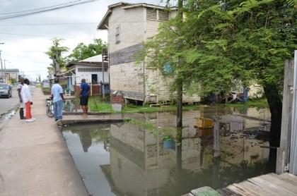 A flood affected yard in Wortmanville